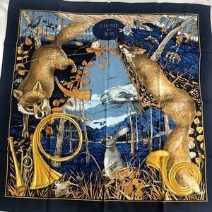 1990s 'Chasse au Bois' Hermes Silk Scarf